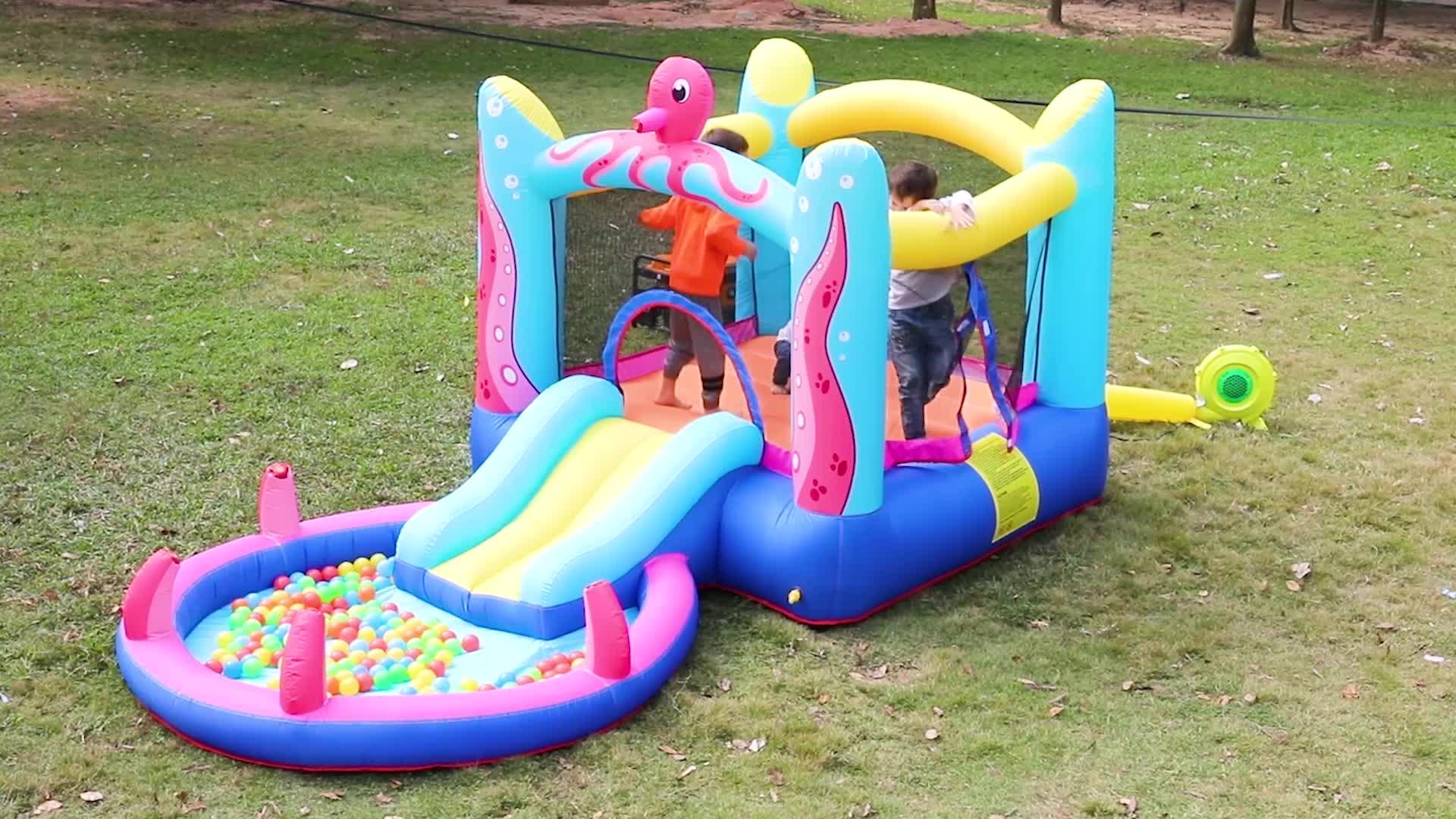 Nylon Aanpasbare Outdoor Opblaasbare Nip Slip Op EEN Pvc Materiaal Geprefabriceerde Bounce Huis Met Bal Pit Water Slide In Zwembad