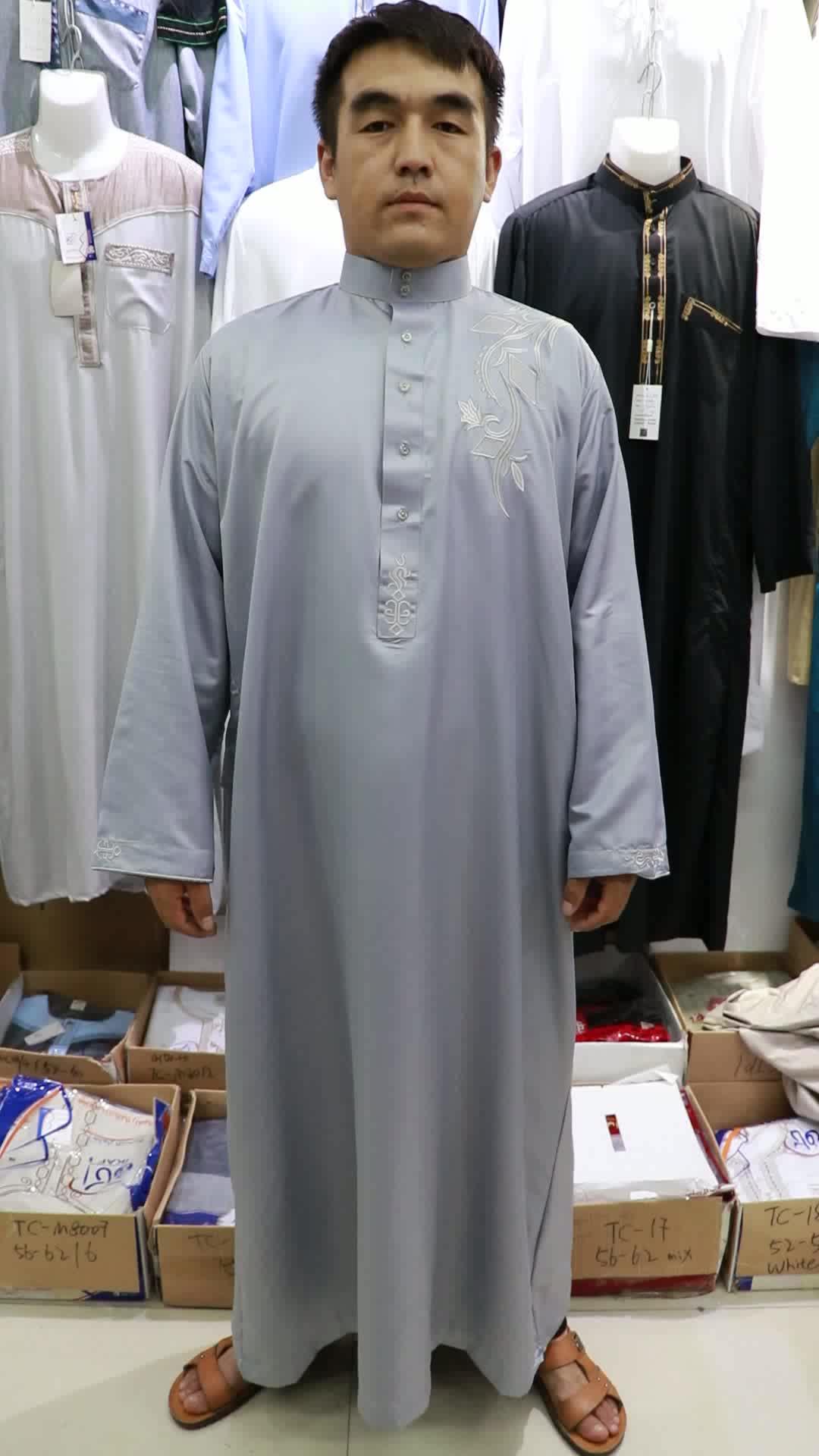 New Arrival Fashion Muslim Men's Embroidered Kurta Long Sleeve New Style Navy Blue Dubai Thobe For Men