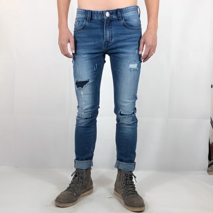 OEM custom new fashion distressed elastic skinny ripped pactched mens denim jeans