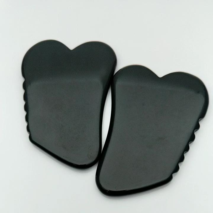 Heart Shaped Black Obsidian Gua Sha Board with Jagges