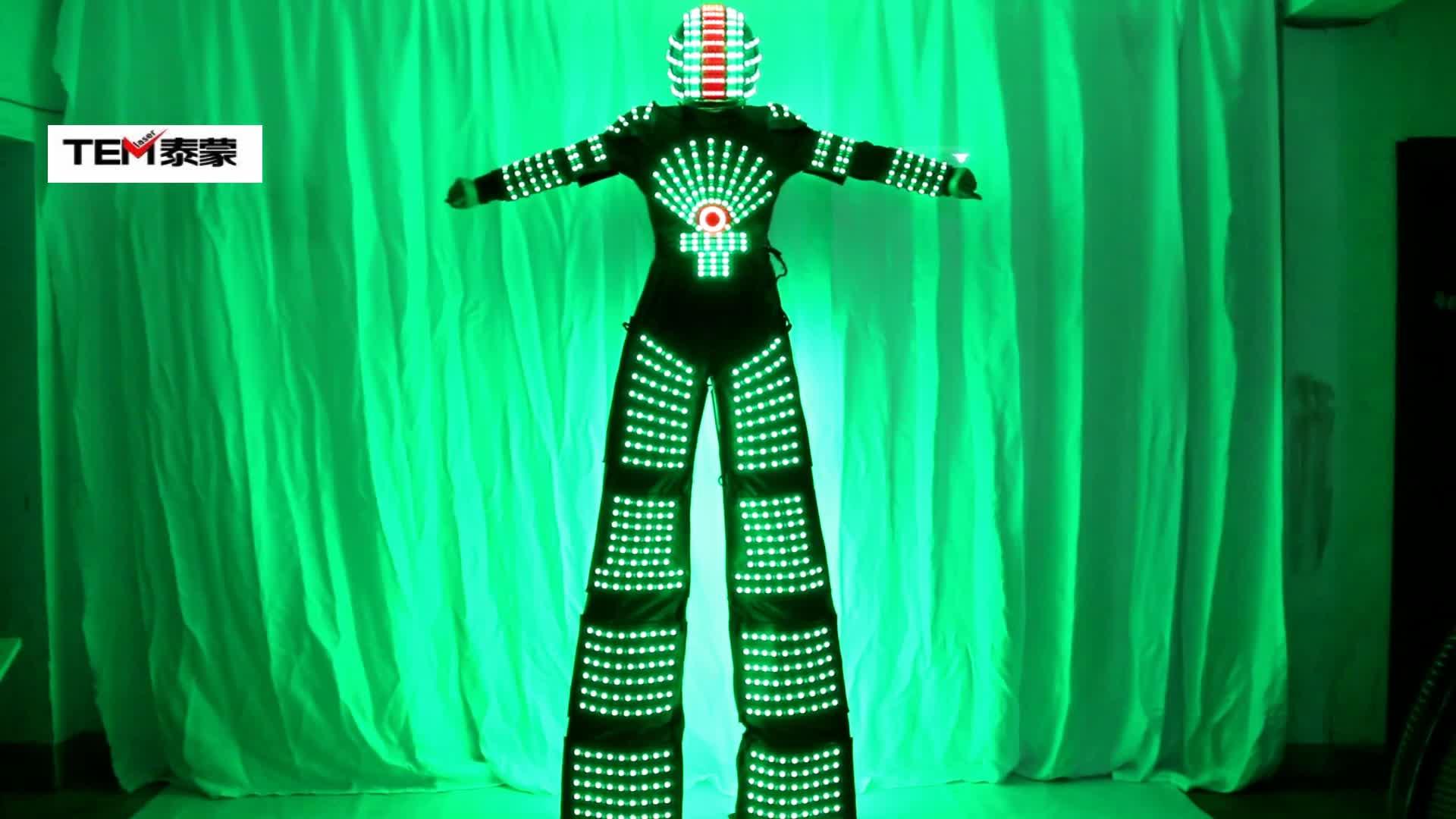 Rgb点滅led衣装ライトスーツledロボットスーツkryomanロボット·ゲッタロボットでヘルメット
