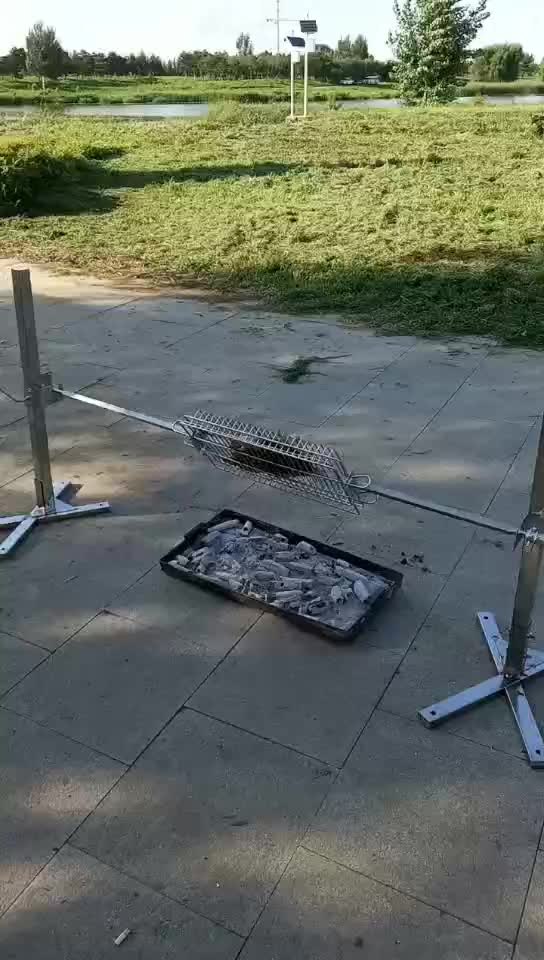 Camping BBQ Spit Roaster Rotisserie kit Charcoal Barbecue Rod Grill