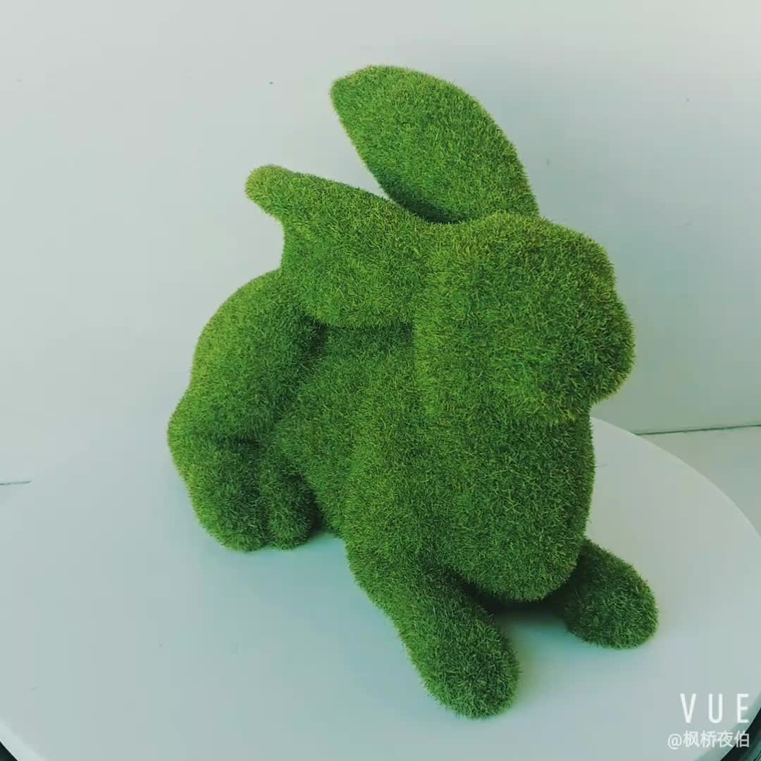 Garden Decoration Wholesales Animal Statue Garden Green Moss Crawling Rabbit Spring Easter Figure