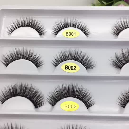 0.10 12mm new design 3d faux mink strip eyelash with private package