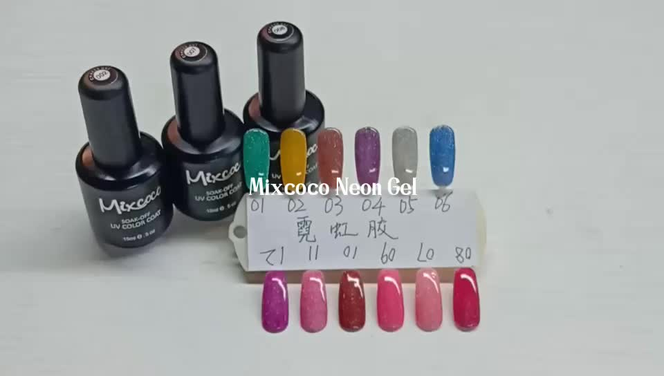 Amazon Hot Selling Custom Logo Oem Neon Nail Polish Uv Soak Off Nail Gel Polish Mixcoco