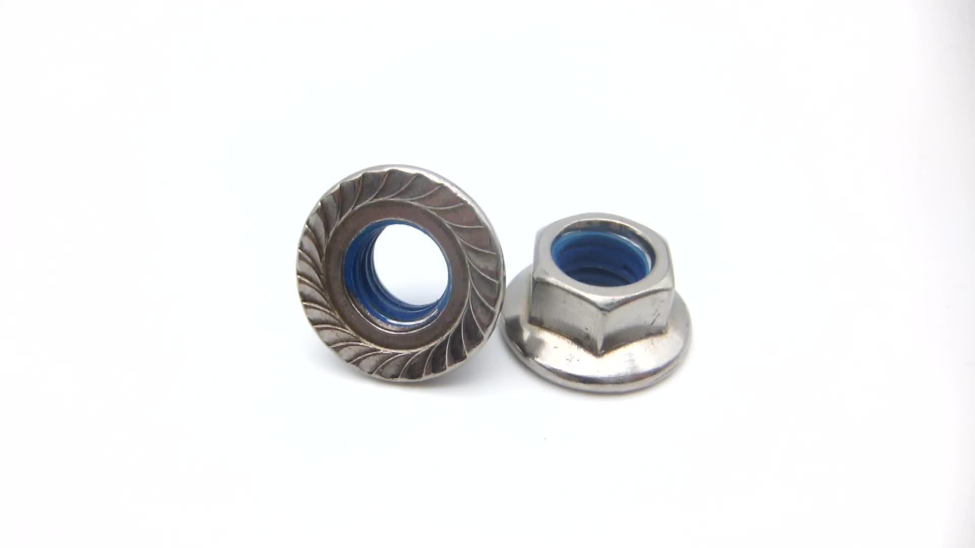 Écrou à bride hexagonale plaqué, en acier au carbone à faible teneur en Zinc, 6926 Nylock, produit d'usine, pièces