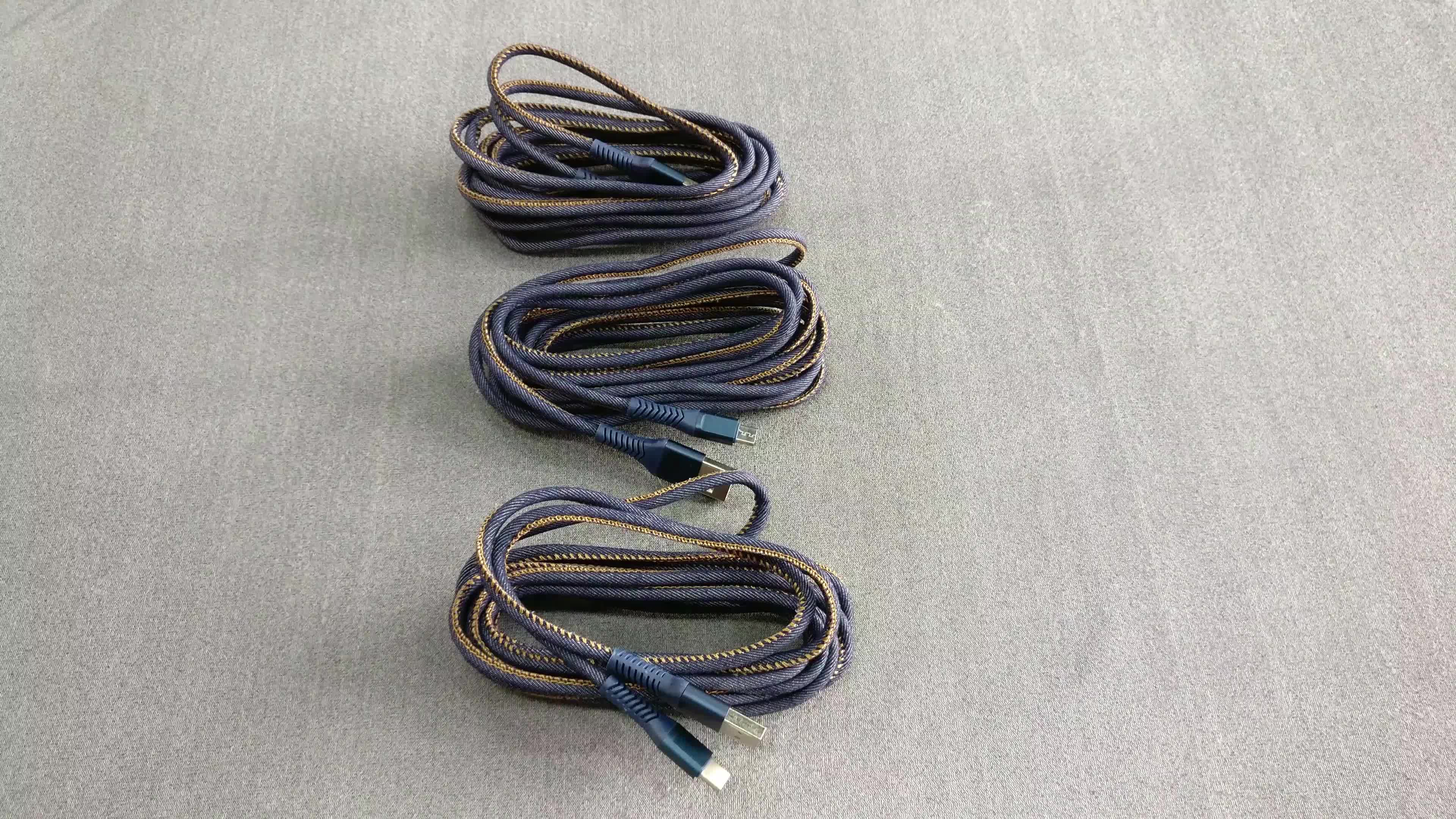 Frete grátis forte SR denim jeans duplo lado USB para o cabo de carregamento do iPhone cabo para iphone x 8 7 plus 6 s plus 5s 5c ipad air