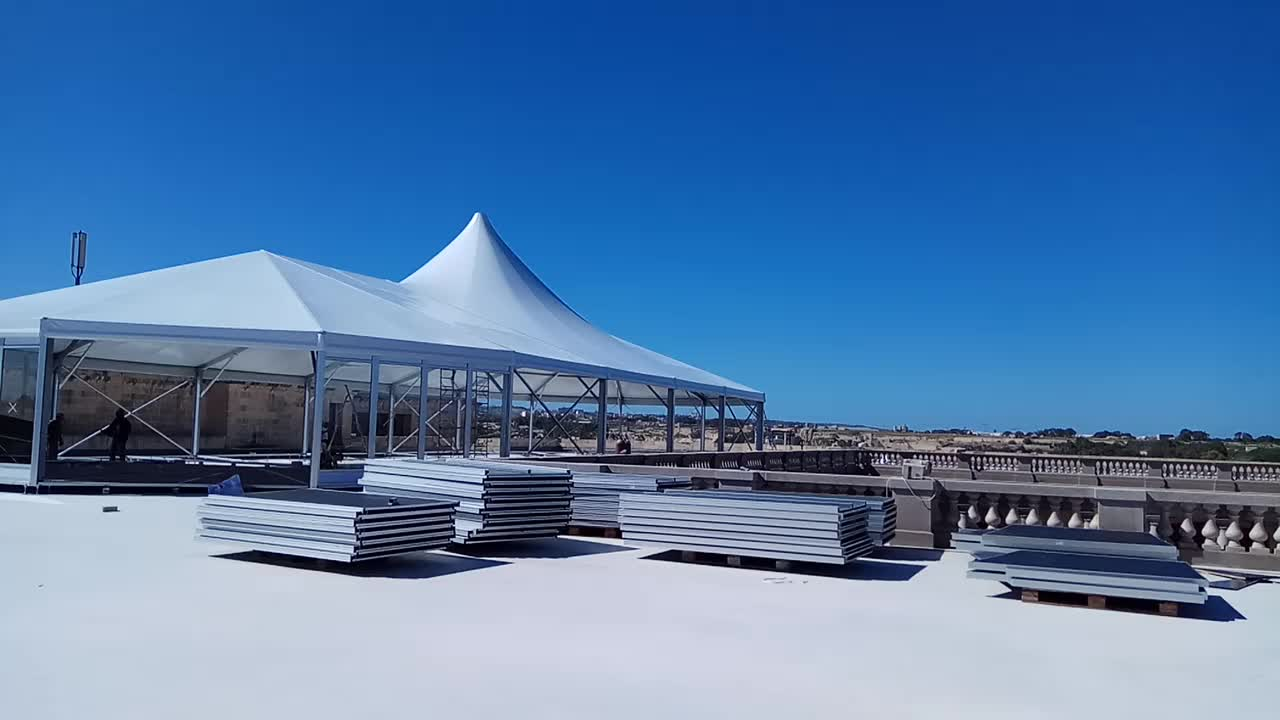 Custom roof outdoor aluminum frame waterproof fabric event trade show exhibition wedding commercial large mixed marquee tents