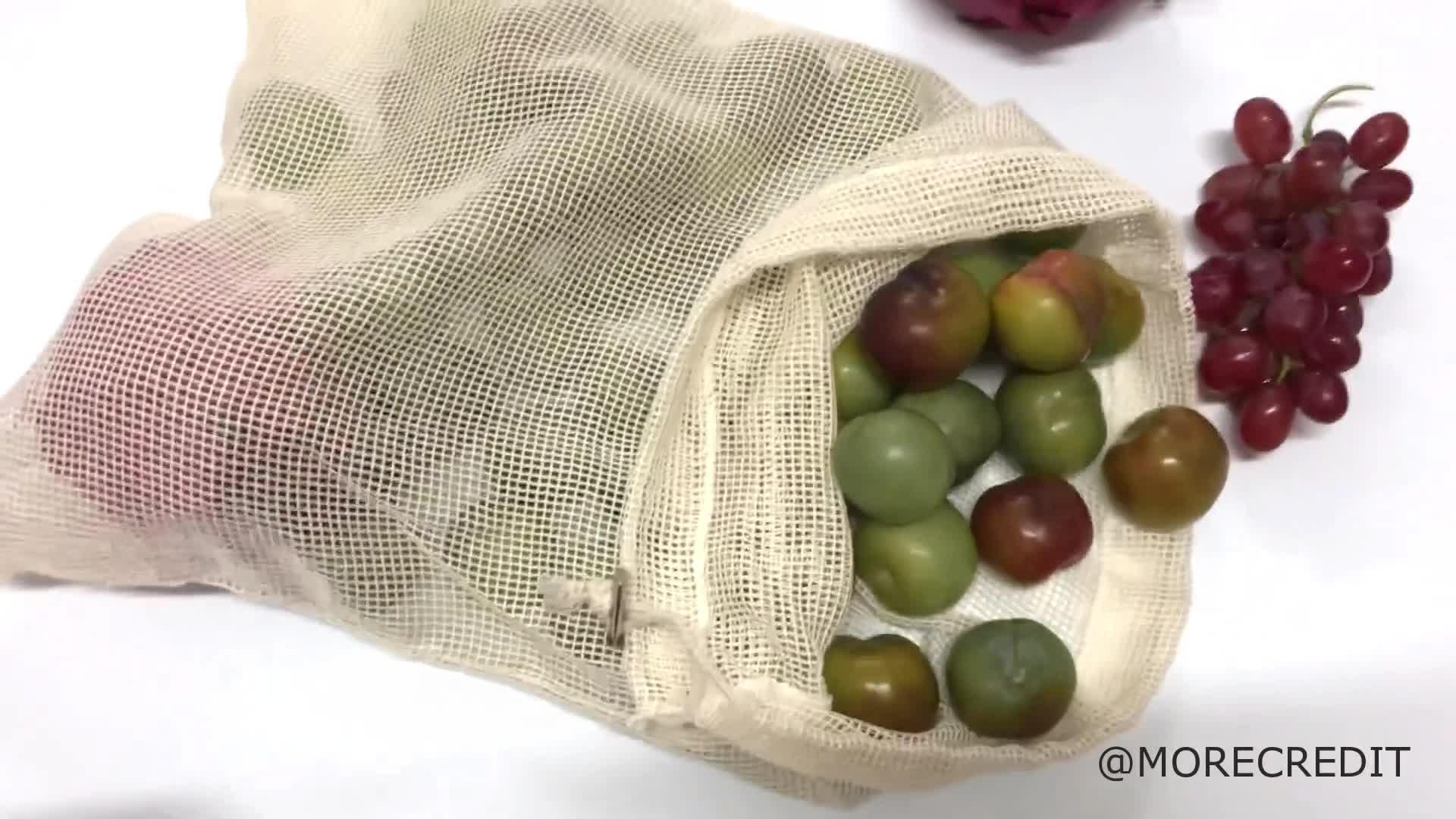 Morecredit Multipurpose Reusable 5OZ Natural Drawstring Organic Cotton Bag For Fruits Vegetables
