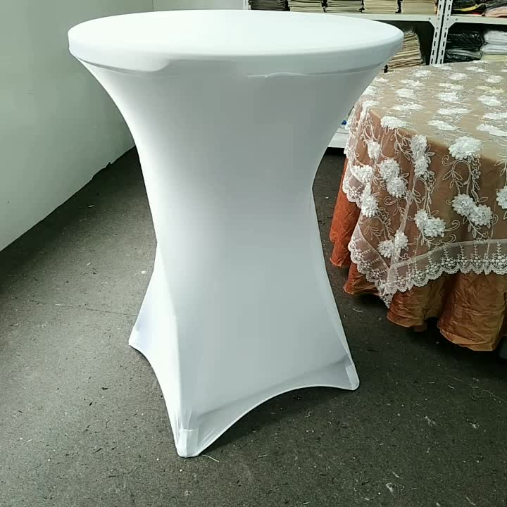 Wholesale white polyester fitted spandex stretch cocktail table covers party wedding tablecloth