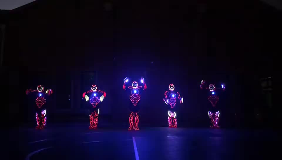 Programmable controller LED robot costume, robot led costume Ironman, led robot suit with Helmet & Shoes