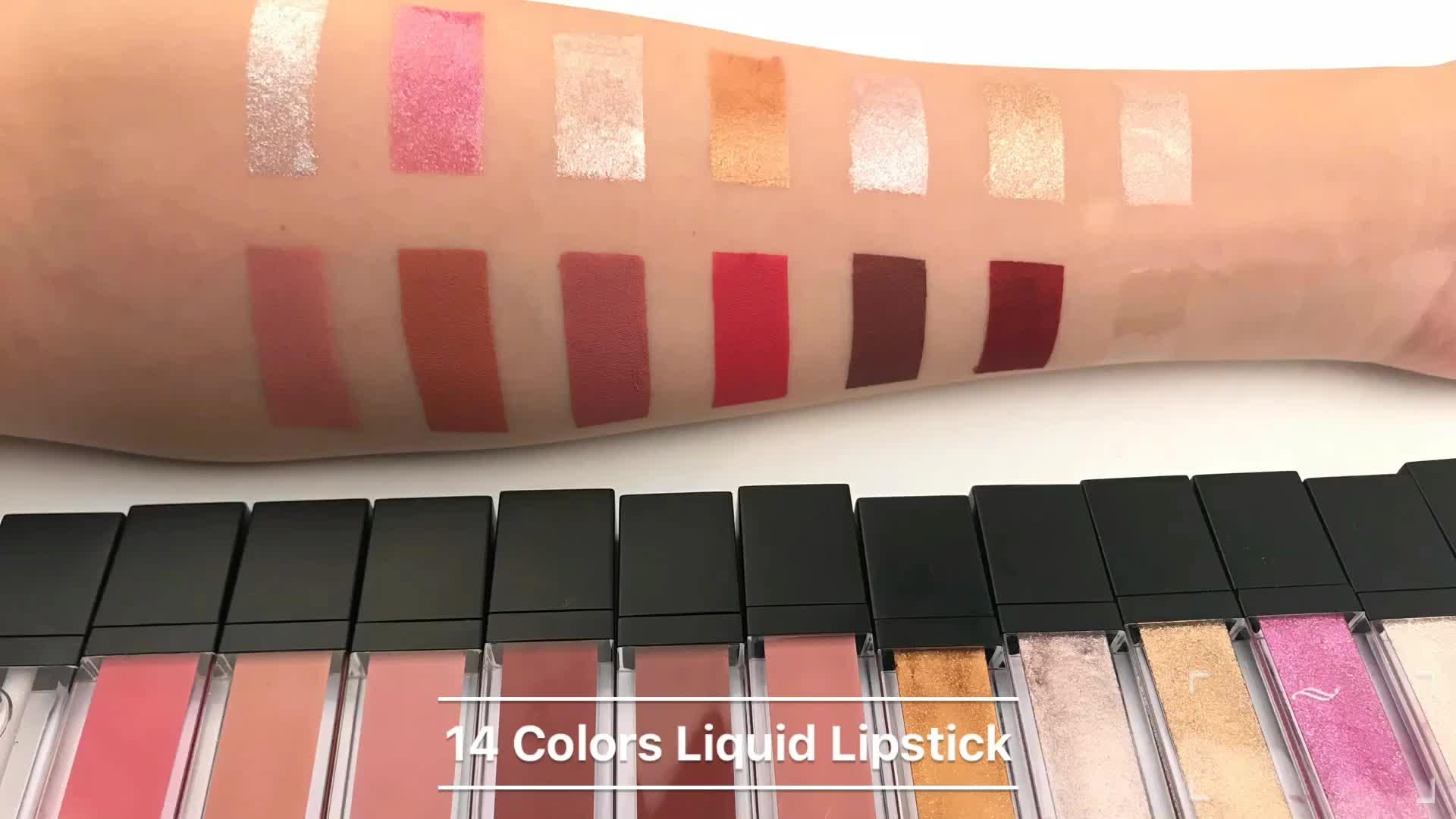Nicht test auf tiere flüssigkeit lipgloss private etikett klar lipgloss mit 14 farben