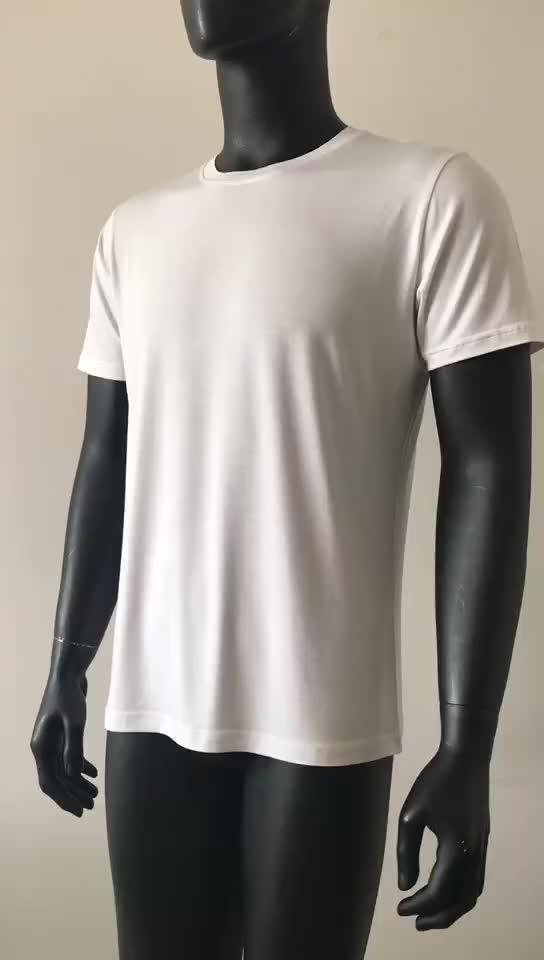 camisa de bambu macia em branco feita sob encomenda v camiseta