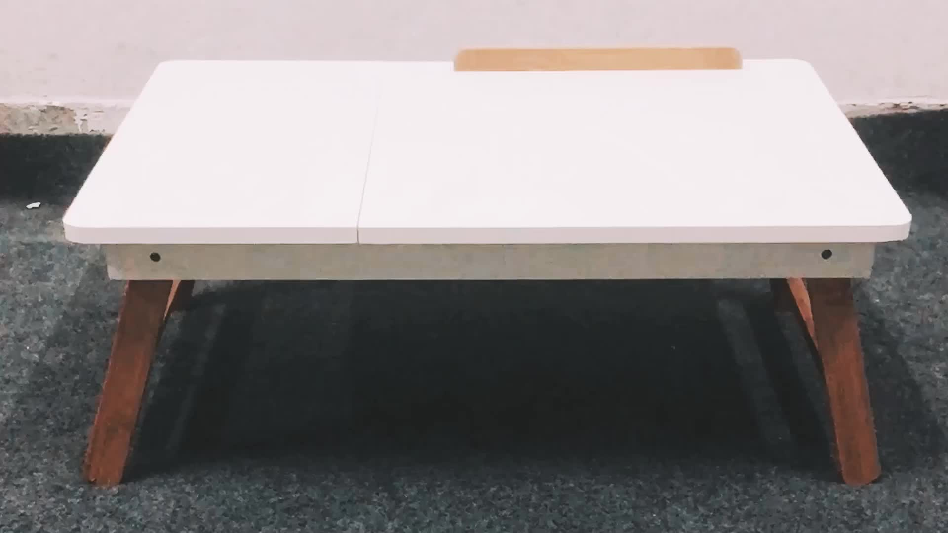 Economical Custom Design Wood Bamboo Adjustable  Portable Folding Bed Laptop Table