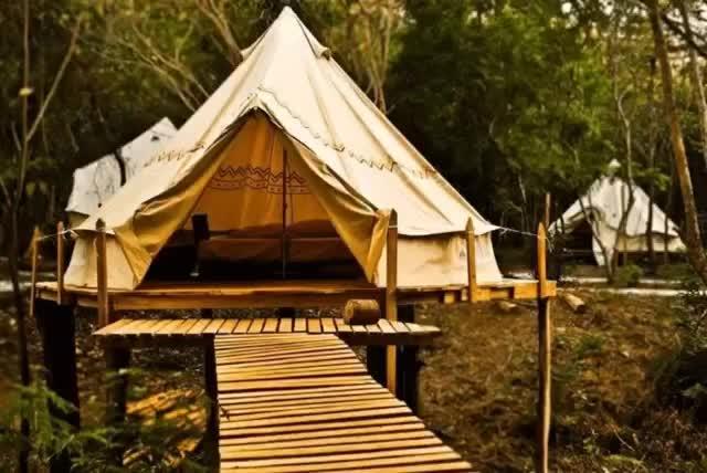 2020 neue Design Wasserdichte Oxford Stoff Glamping Outdoor Glocke Zelte für Resorts