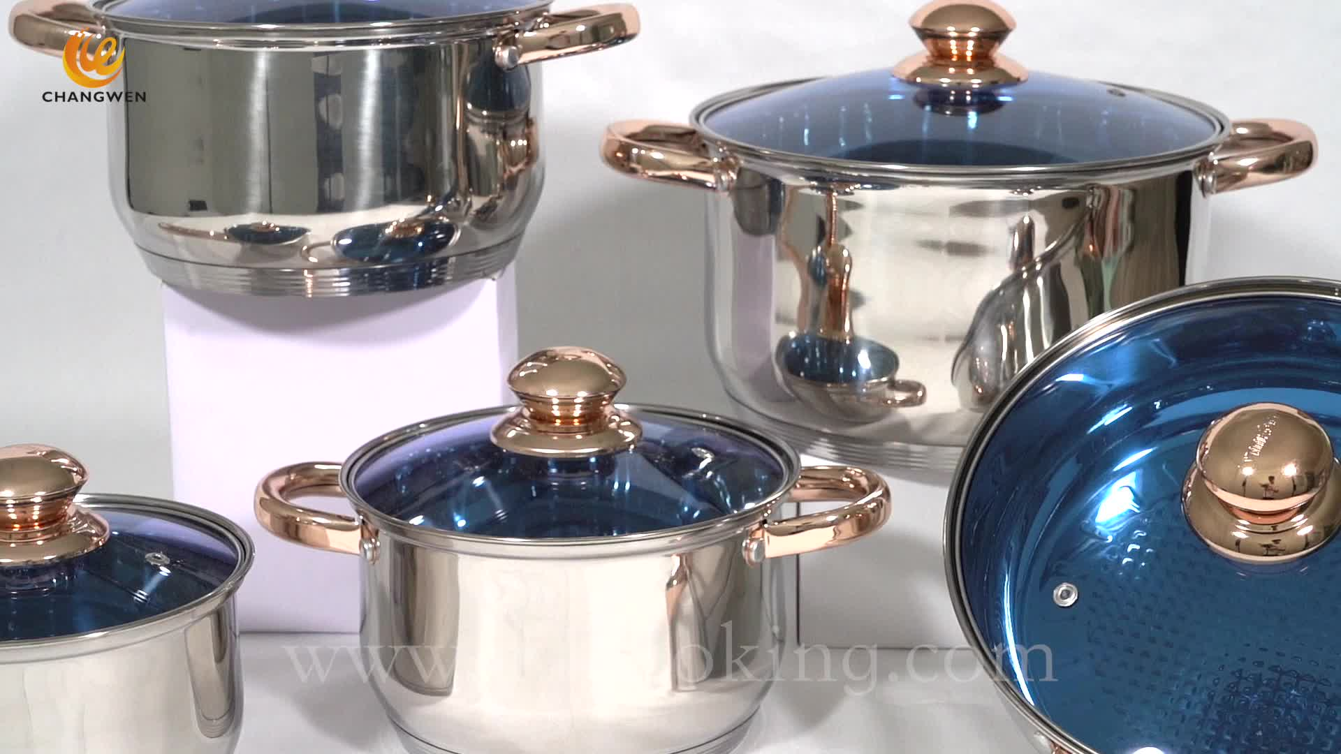 Hot Wholesale 12 Pcs Stainless Steel Belly Body Shape Cookware Set With Glass Lid