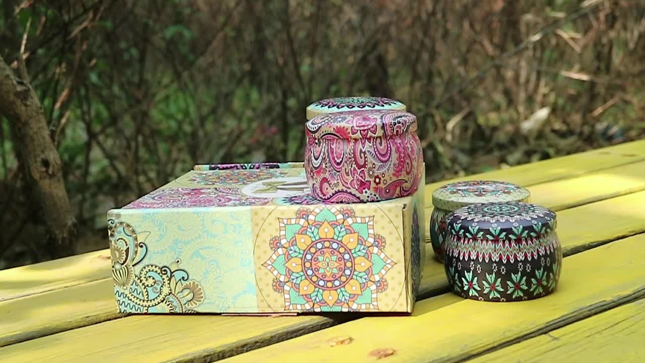 Aromatherapy Natrual Soy Wax Vanilla Coconut Scented Metal Tin Candles Gift Set 4
