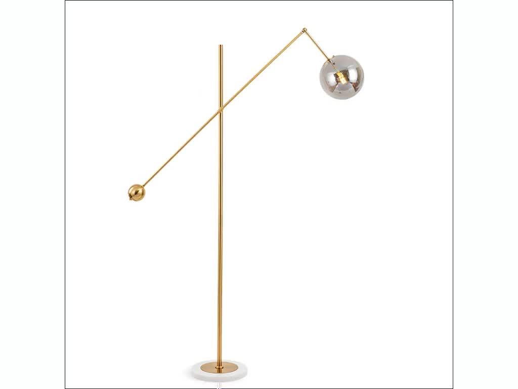 Modern Gold Metal Glas Bal Standing Floor Lamp