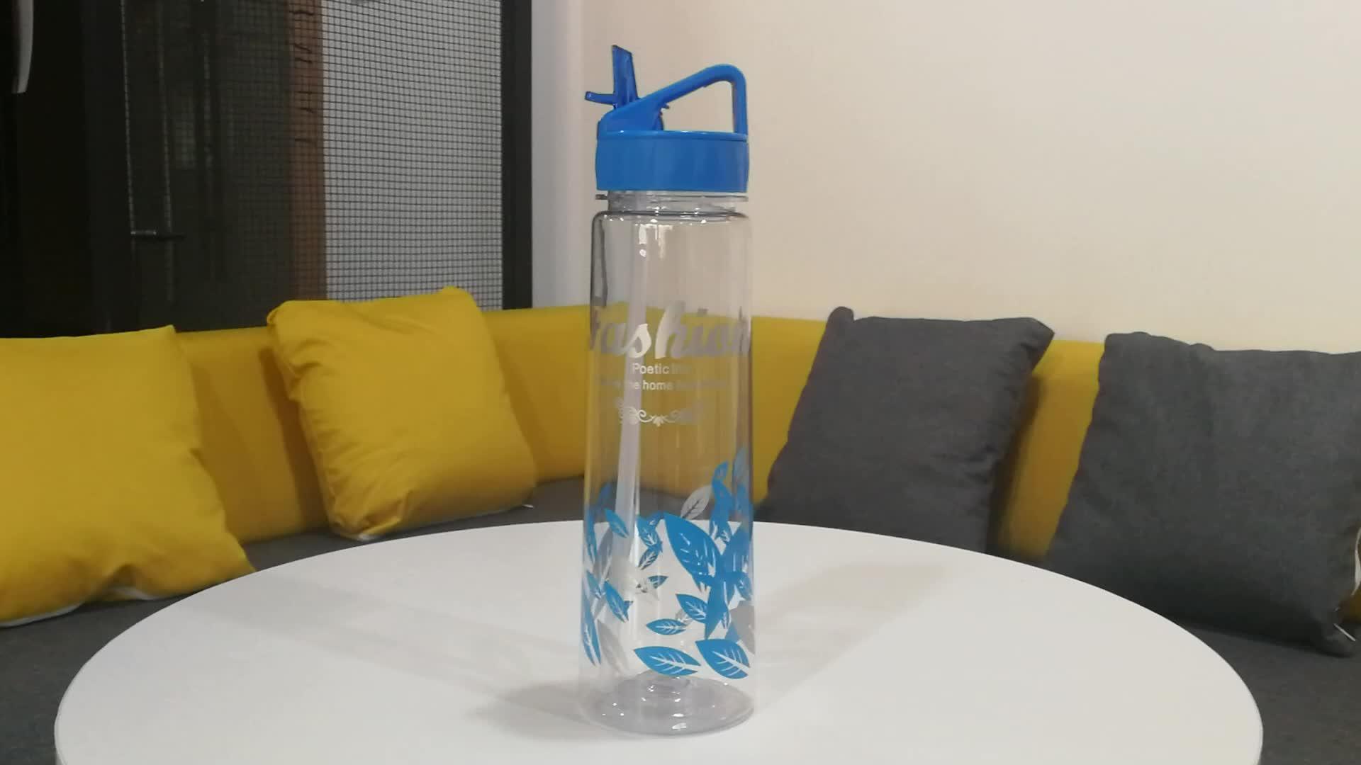 Private Label 900 ml Fles Water Sport met Stro Plastic Fles met Touw Gemakkelijk te Dragen