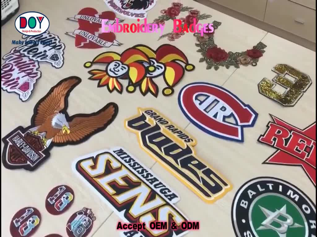 Sportswear Embroidered Badge Wholesale Custom Embroidery Letters Iron On Fabric Patches for Clothing