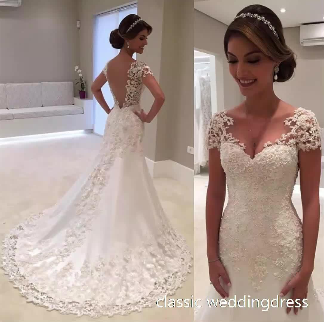 2019 personalizzato Elegante a buon mercato All'ingrosso del progettista di alta qualità di lunghezza del pavimento dell'abito del merletto delle donne di nuovo vestito da sposa sexy abito da sposa abito da sposa