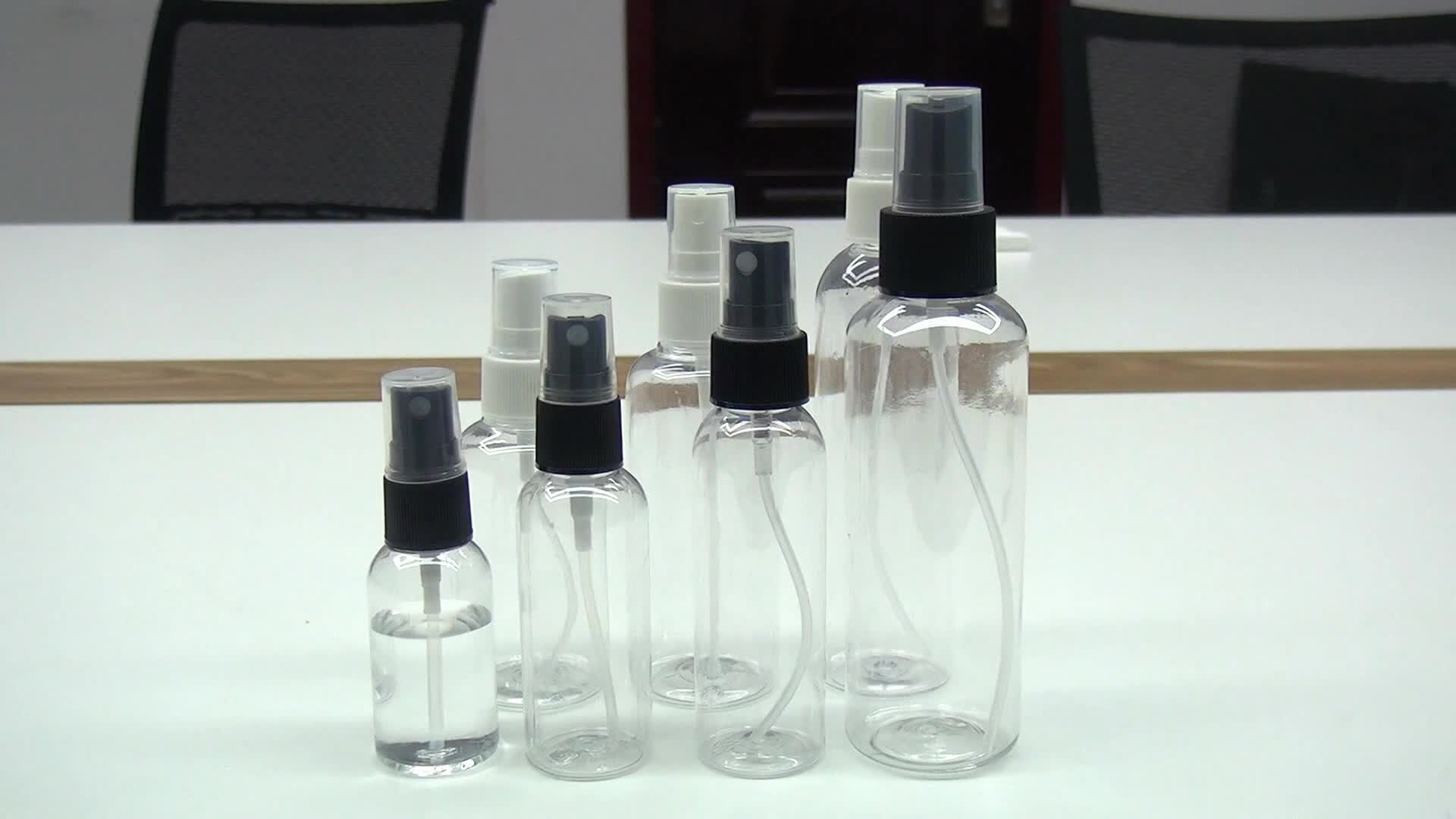 Large Stock Empty 50ml 60ml 100ml clear PET plastic spray bottle for Disinfection spray