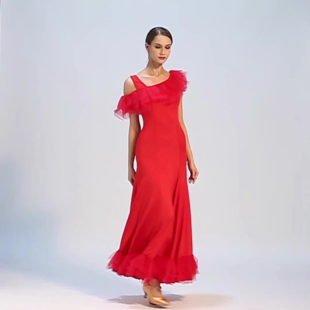ロング社交ダンス叙情的な衣装ドレス女性セクシーなサルサアラビアダンスドレス