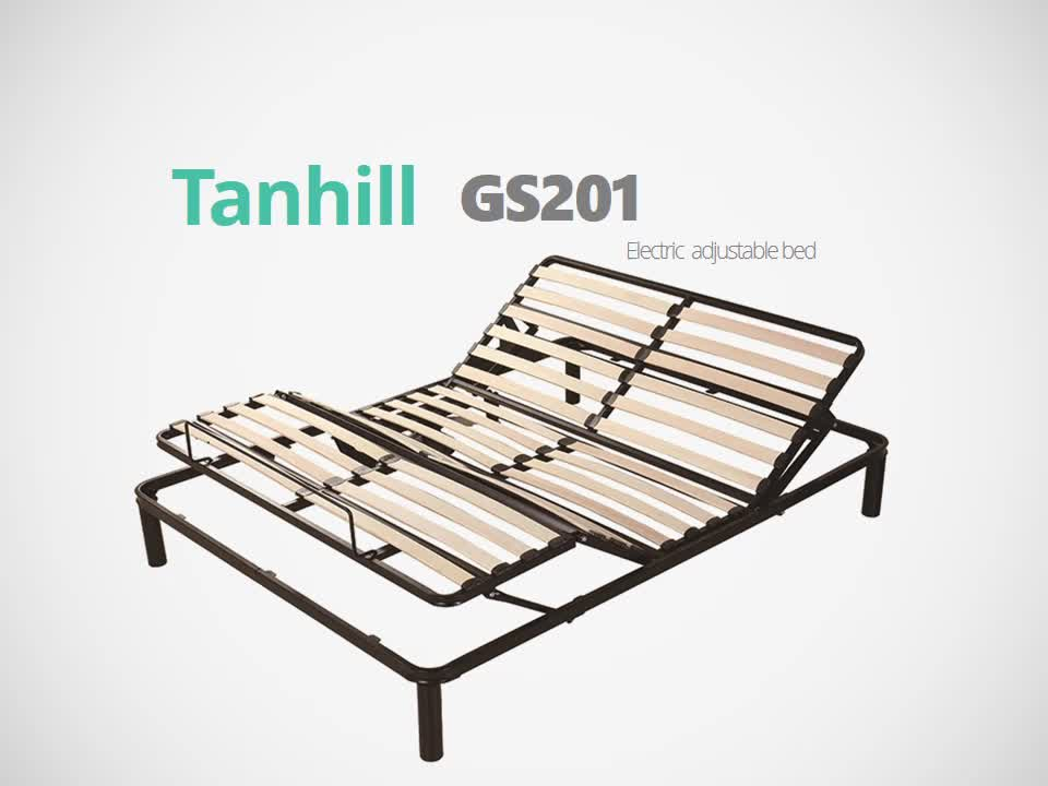 Wood slat adjustable bed frame with queen size for home furniture