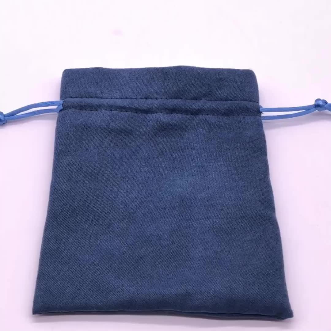 Blue Soft Jewelry Suede Pouch Faux Suede Gift Bag