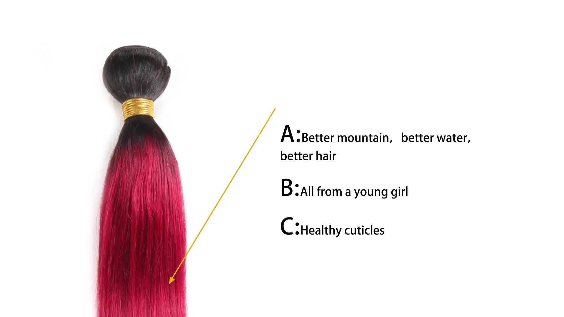 Hot Koop Snelle Verzending Ombre Kleur 1B/Burg # Raw Indian Remy Human Hair Extensions