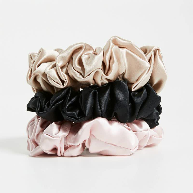 100% 6A Top Grade  silk 22MM silk women hair elastics scrunchies Silk Scrunchies