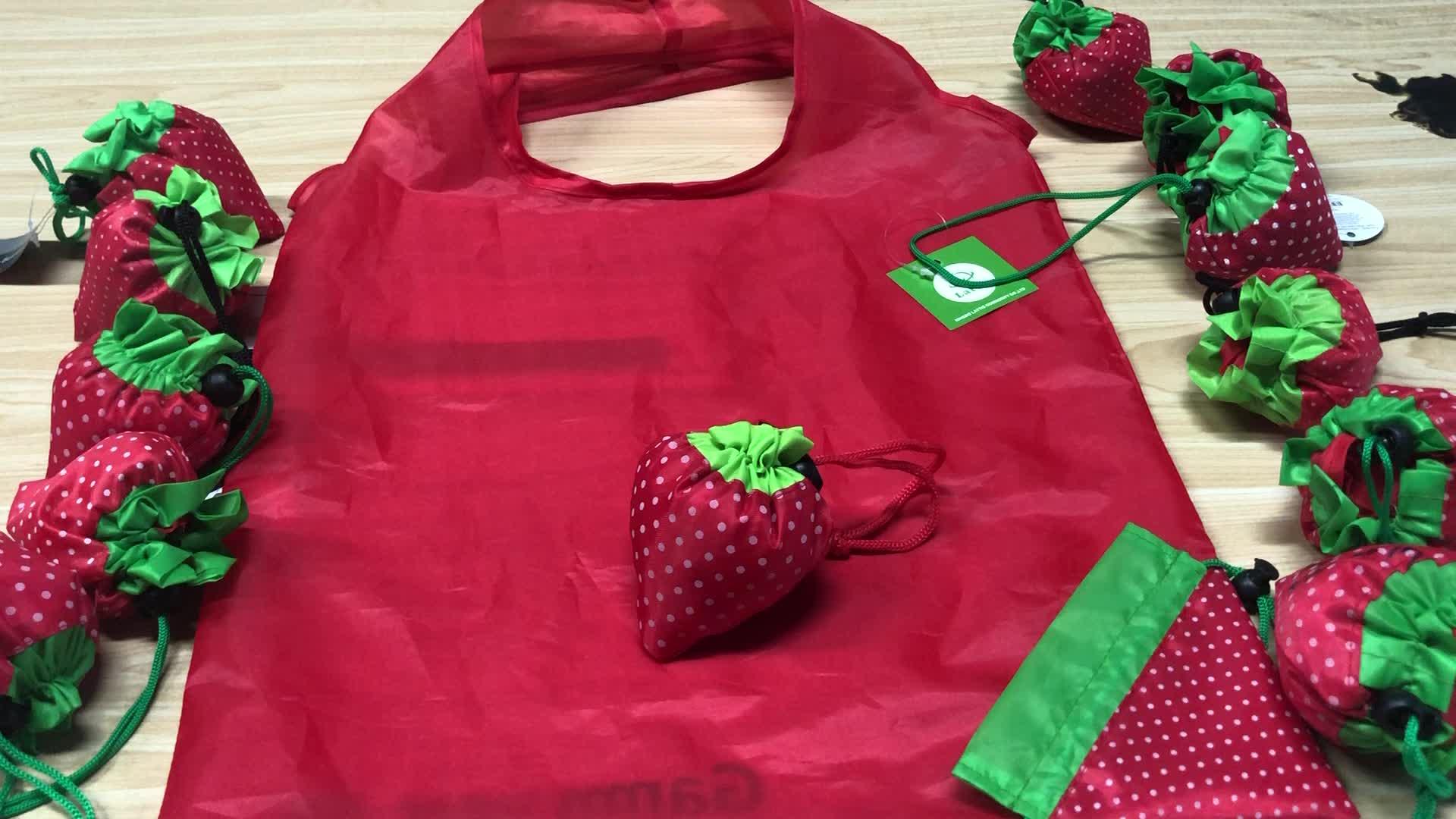 Fabrika Fiyat Hızlı Teslimat Polyester Katlanır Tote Su Geçirmez Meyve Çilek Naylon Katlanabilir alışveriş çantası
