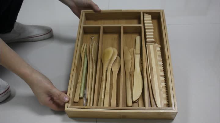 Bambusbesteck-Messer-Werkzeuge Fach 8-fach ausziehbarer Schubladen-Organizer