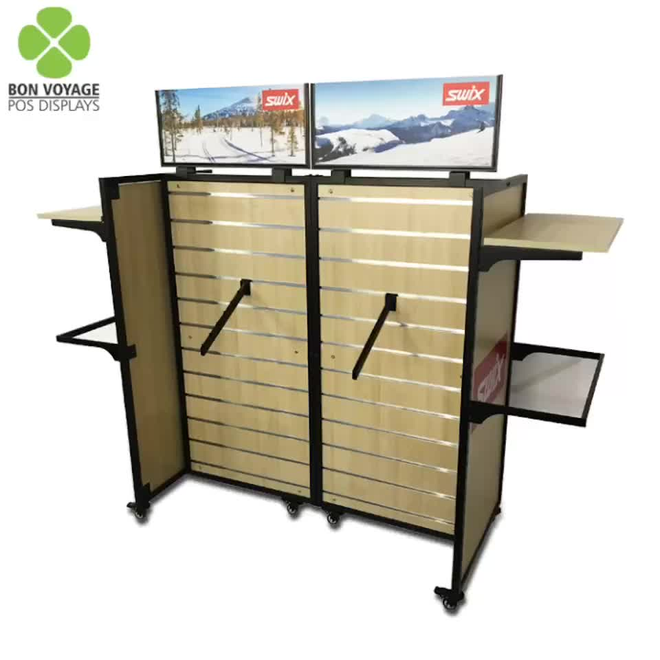 2019 double sided floor standing wooden clothing slatwall display stand