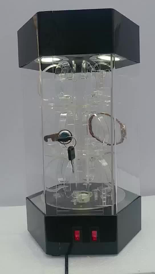clear acrylic rotating watch display watch showcase with LED with mini watch stand