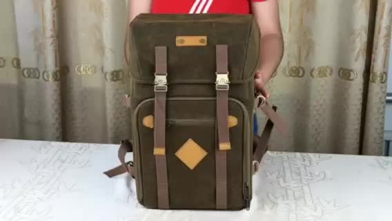 2018 Godspeed  new design Durable canvas camera backpack bag with tripod laptop
