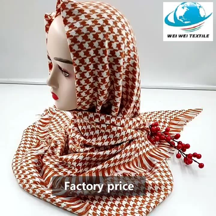 fashion winter wool hijab chinese factory cashmere scarf Swallow gird shawl  in big size