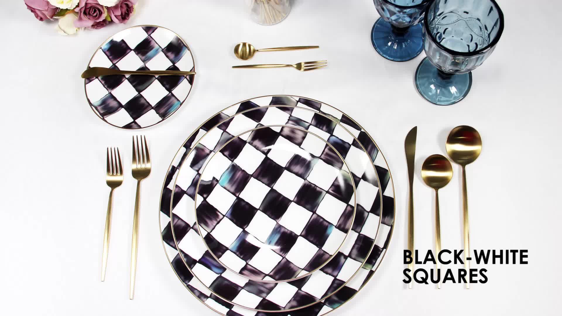 चेक गणराज्य से रात के खाने के ठीक चीनी मिट्टी के बरतन सेट/घुटा हुआ रात के खाने के बर्तन/फ्रेंच tableware काले खाने की थाली सेट