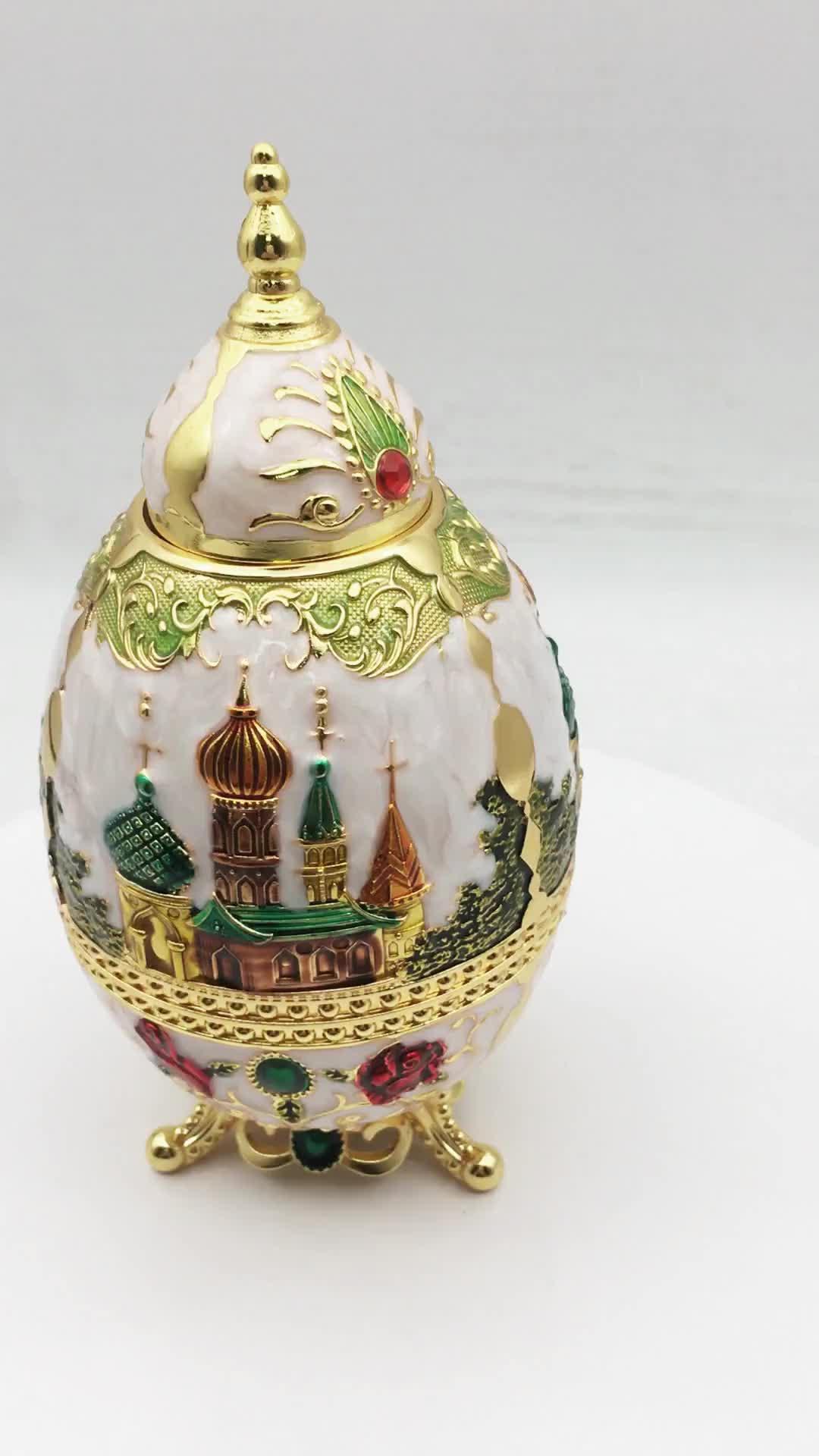 Personnalisé souvenir russe d'indication bâtiment figurine émail oeuf porte-cure-dents automatique
