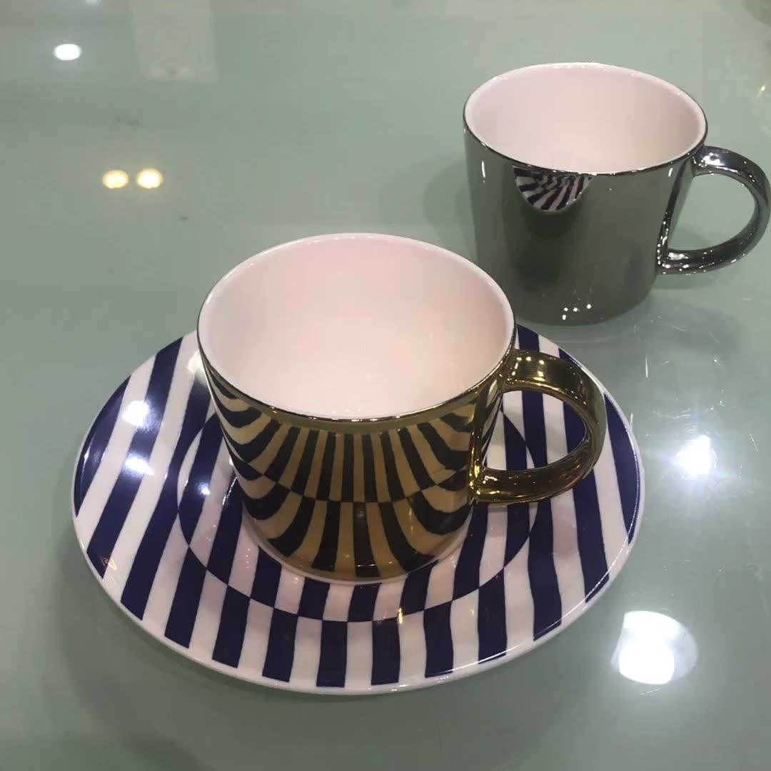Juego de tazas de café etíope de té elegante espresso con espejo de 3 onzas y 90ml