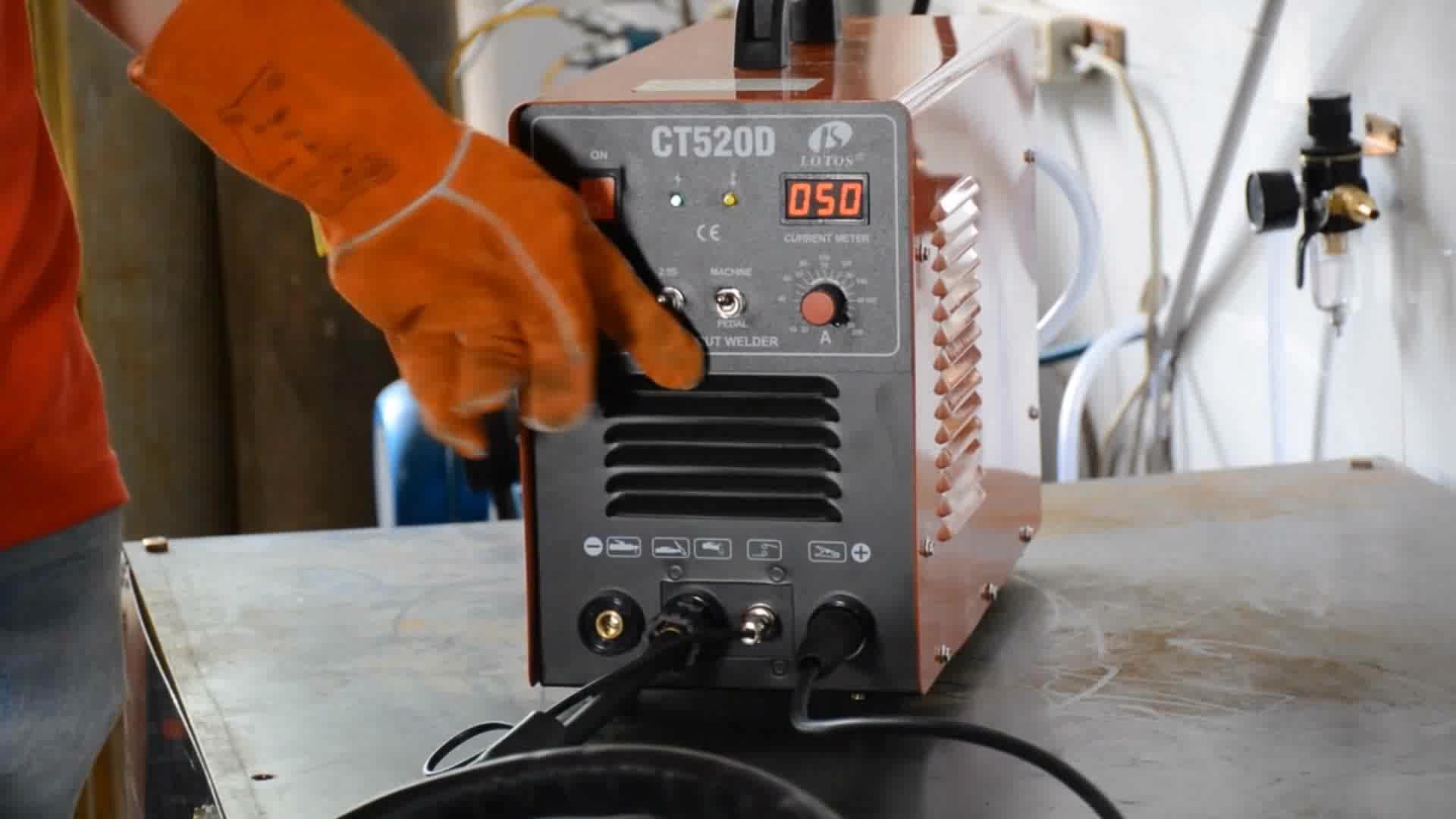 Lotos CT520D portatile taglio al plasma mosfet mig tig saldatore combo automatico impulso argon saldatura ad arco macchina