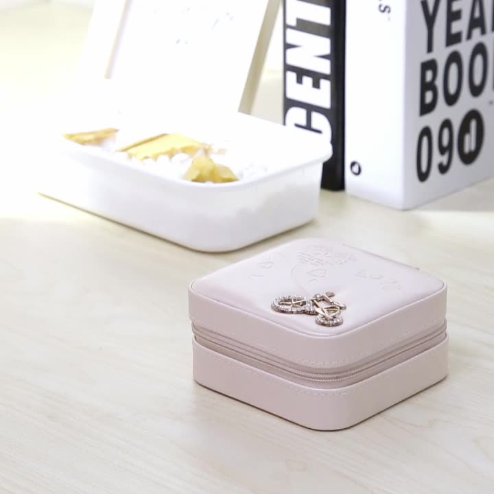Wholesale Custom Women Small Ring Earring Necklace Jewelry Box with logo Pu Leather Travel Portable Jewellery Case Organizer