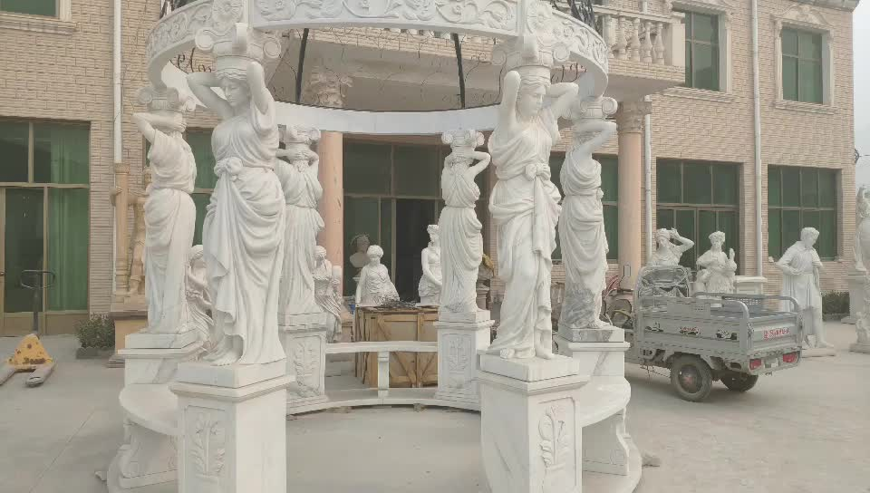 European style hand carved woman statue outdoor white marble gazebo with metal roof