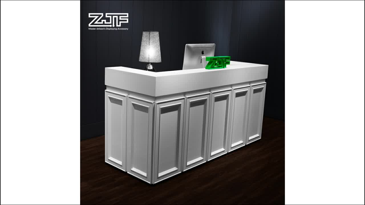 Glossy white wooden cashier counter desk shop modern office reception table price