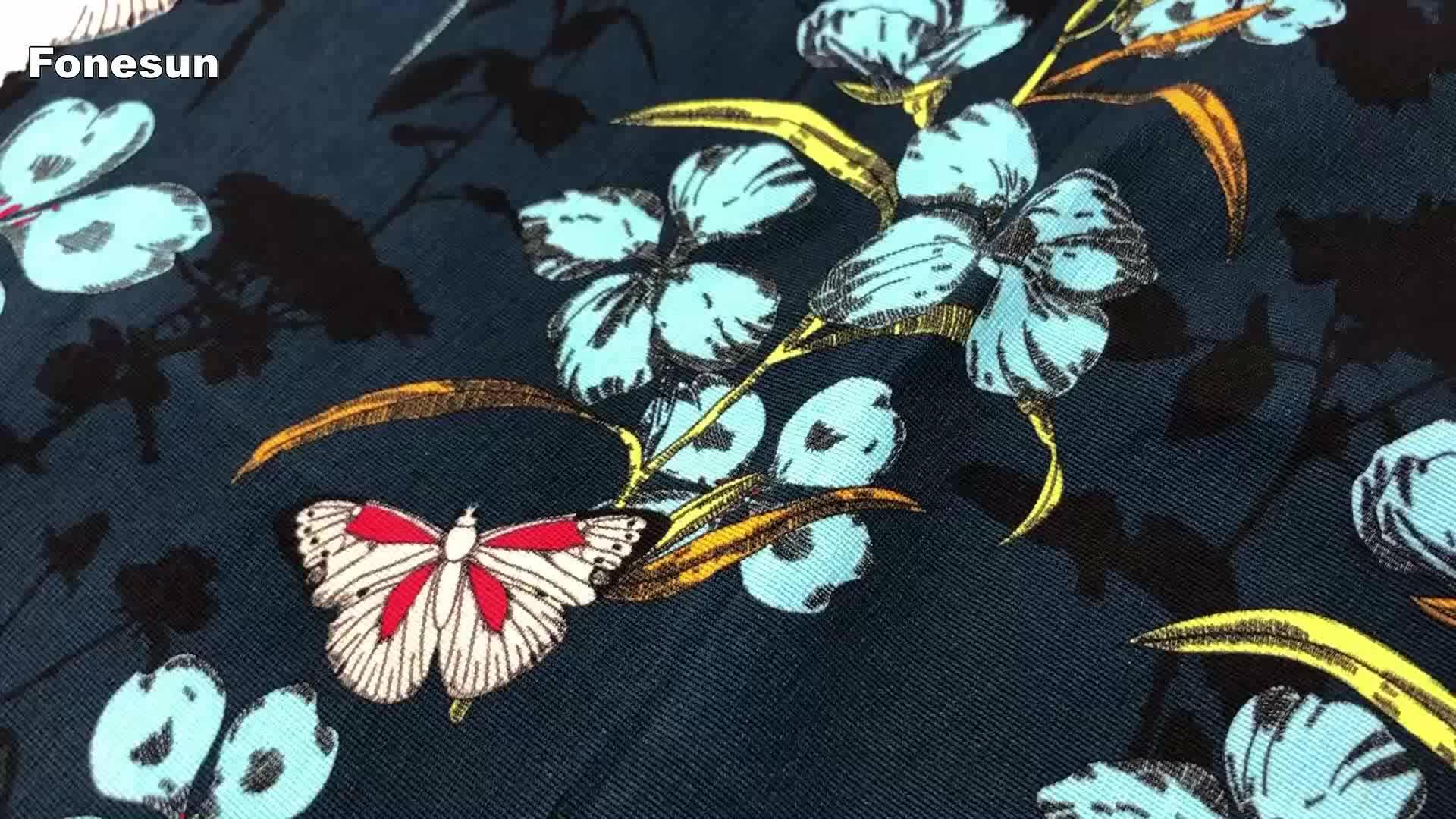 Fonesun-PS94 Wärme transfer digitaldruck stoff 100% polyester floral crepe chiffon für frauen kleid