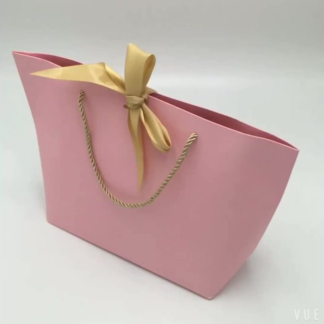 colorful paper gift tote bag with Bow tie ribbon tie free sample