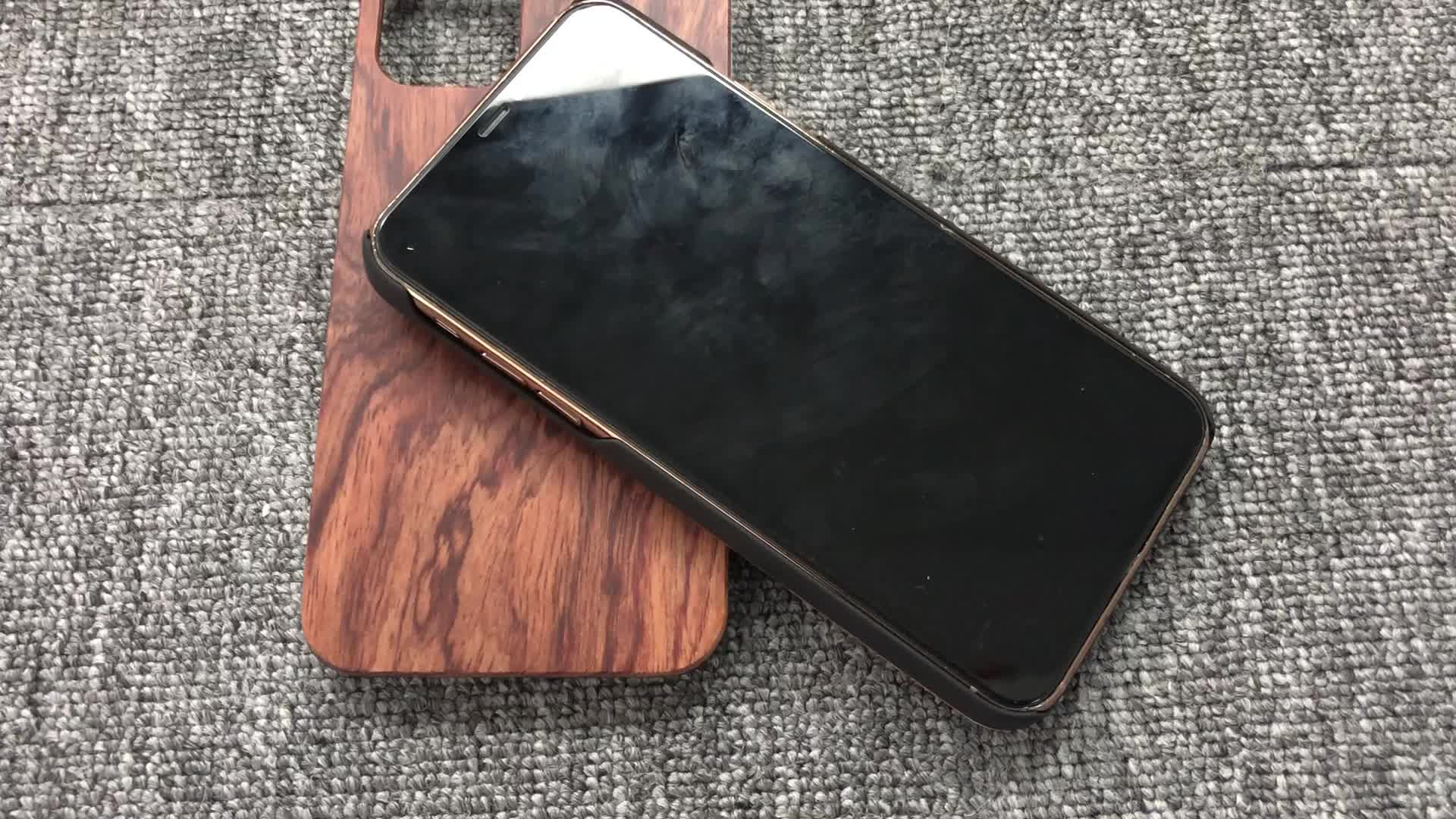 2020 For iPhone 11 Pro Max Custom Hard PC Walnut Real Wood Mobile Phone Cover