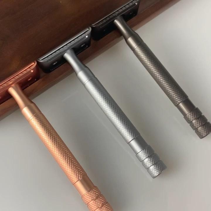 メンズストレート刃安全かみそり亜鉛合金ステンレス鋼ダブルエッジシェービングかみそり