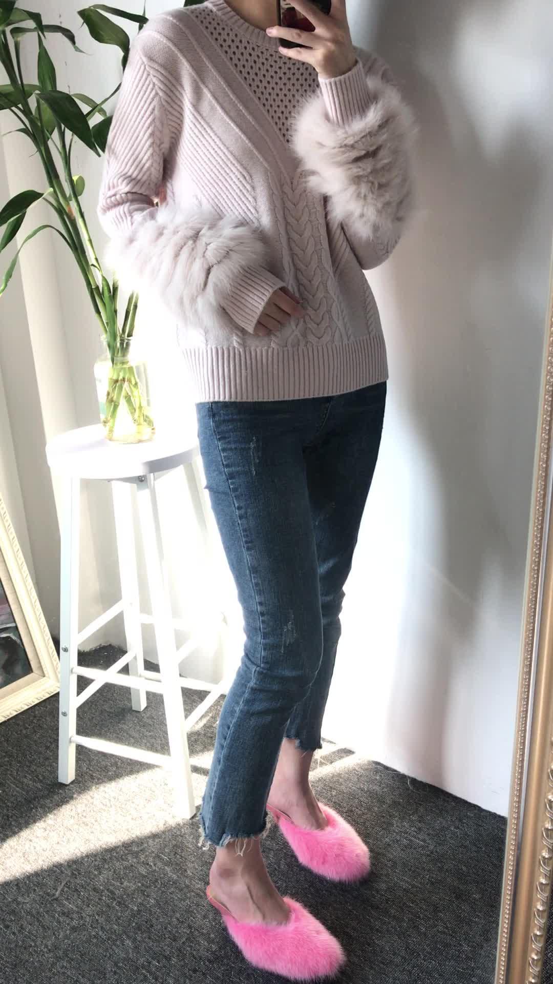 Fluffy Fox Fur Furcal Long Sleeve Loose Slim Women Knit Sweater Pullover Jumper