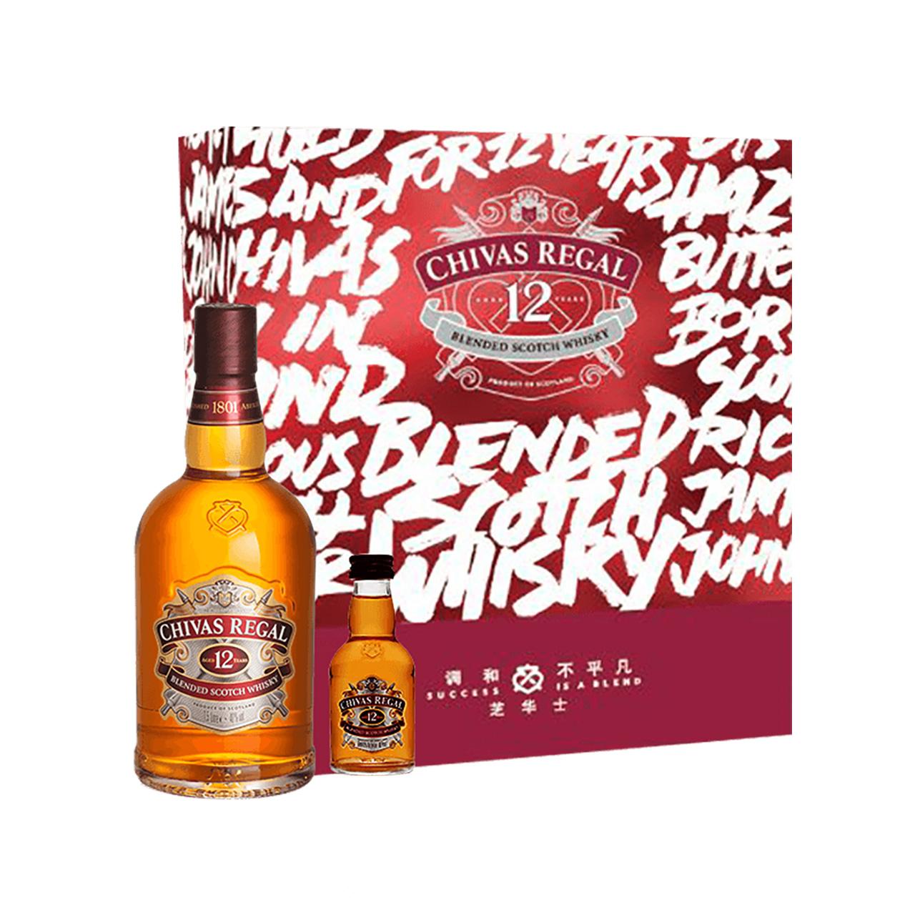 英国进口 芝华士 12年苏格兰威士忌 500ml+50ml 礼盒